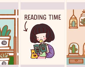 Cute Reading time Stickers, Bookworm Planner stickers, Book Sticker, Cute girl sticker, Cute Reading Sticker, Bookworm (LOLA025)