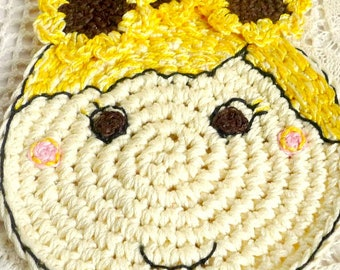 Sunflower Coaster - Sunflower Doll - Crochet Coaster - Sunflower Mug Rug - Sunflower Lover - Gift for Teacher - Gift for Her - Gift for Mom