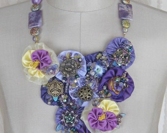 KIS Originals One of a Kind Mixed Media Bib Style Necklace