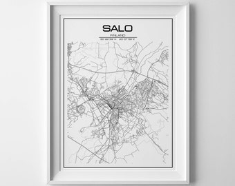 Salo map city Salo map print city map Salo poster Salo map gifts gift for him printable map Salo map Finland print city map custom map