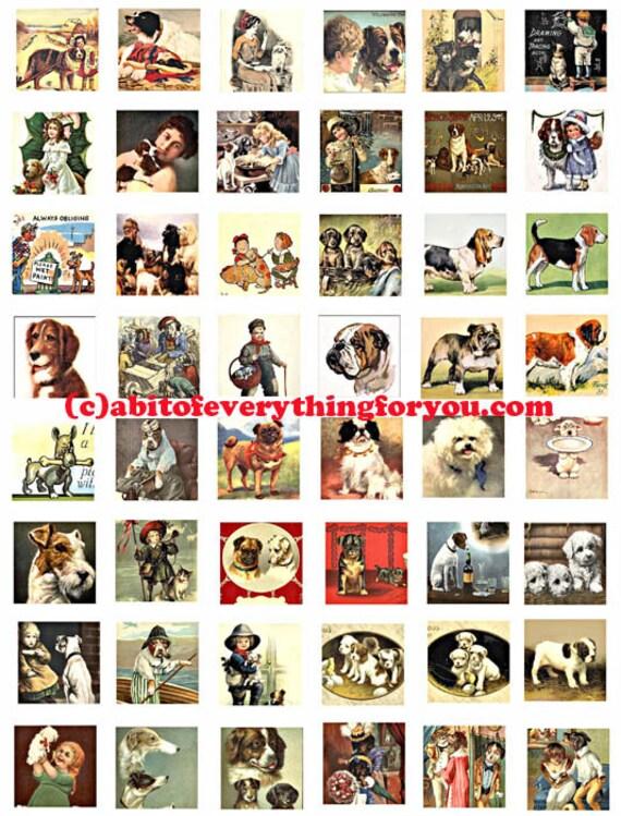 puppy dogs vintage art postcards clip art digital download collage sheet 1 inch squares graphics images pendant printables magnets pins