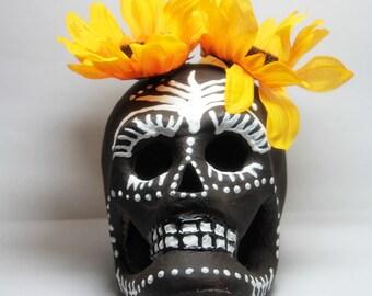 Handmade Day Of The Dead Skull, Sugar Skull, Memento Mori, Hoodoo Conjure Altar Skull, Dia De Los Muertos skull, Paper Mache Skull -COCOA
