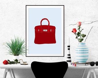 Hermes Birkin Red Fashion Illustration Art Poster