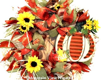 Fall Wreath, Autumn Wreath, Fall Mesh Wreath,Pumpkin Wreath, Pumpkin Sign Wreath, Wreath with Owl, Fall Decor, Fall Pumpkin Decor