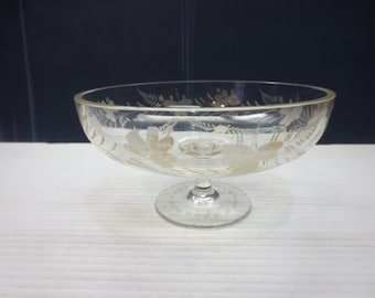 Antique Gold Etched Crystal Compote