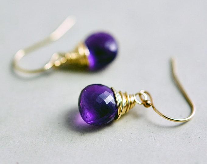 Drop Earrings, Fluorite Earrings, Gold Earrings, February Birthstone, Gold Jewelry, Fluorite Jewelry, Crystal Earrings