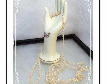 Vintage Sautoir Necklace - Hand Beaded Pearlescent Sautoir  Neck-1910a-121812000