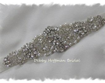 Bridal Sash, Pearl Wedding Sash, Crystal Pearl Bridal Belt, Pearl Rhinestone Wedding Belt, Pearl Jeweled Wedding Sash, No. 4060S, SALE