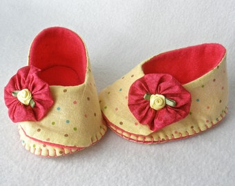 Baby Shoes, Girls Hand Stitched Booties,  Pale Yellow Polka Dot Hand Sewn Baby Shoes,  Pink Ruffle Trim