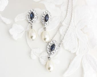 Pendant Wedding Necklace Montana Blue Bridal Necklace and Earrings Set Simple Wedding Jewelry Pearl Drop Necklace and Earrings MAE