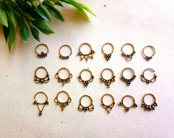Septum Ring, Real septum, 18 Designs, Handmade, Real brass Septum Ring, piercing Septum, Cuff, Septum Clip, Tragus, Helix, Cartilage. GN18