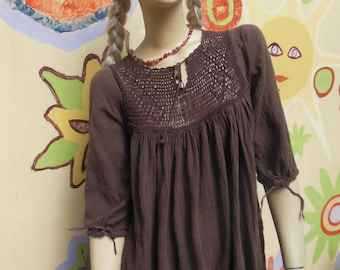 Vintage India cotton cheesecloth top, brown, Size small/ medium