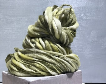 "Thick Thin Art Yarn, bulky handspun yarn ""Lichen's Song"" yellow green, grey green, silver green, gold green Crochet, Knitting, weaving yarn"