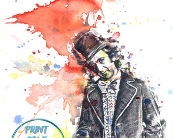 Willy Wonka Movie Poster Pop Art Watercolor Painting Art print Pop Art Movie Poster Print Gene Wilder as Willy Wonka