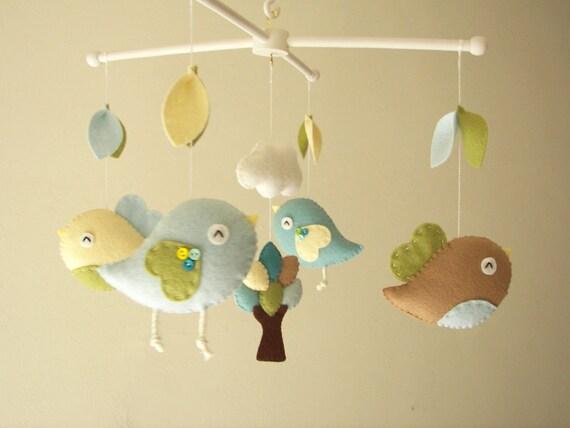 Bebé cuna móvil pájaro móvil fieltro móvil vivero móvil