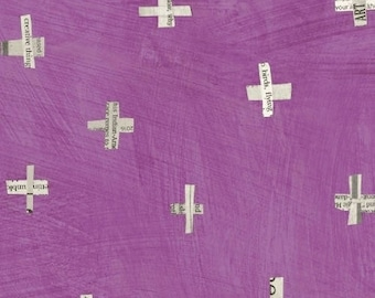 Dreamer by Carrie Bloomston for Windham Fabrics - Full or Half Yard Newsprint Plus on Orchid Modern