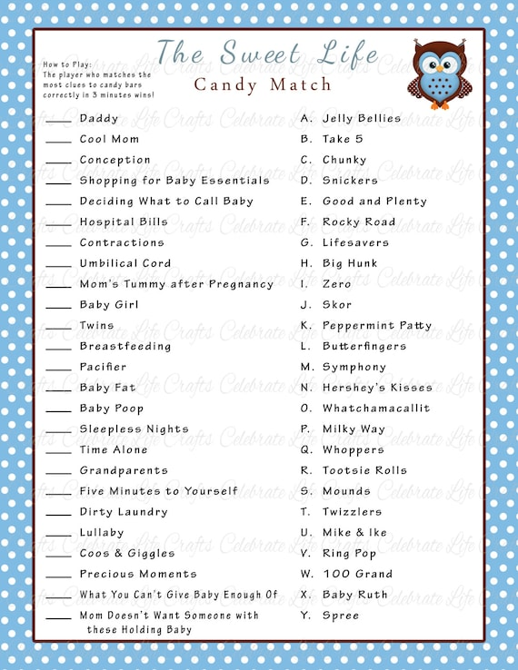 Baby Shower Sweet Life Candy Bar Match Game   Printable Baby Shower Games    Blue Polka Brown Owl Baby Boy   Baby Shower Activity B016