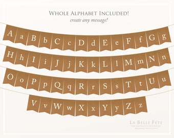 Recycled Brown Kraft Paper Whole ENTIRE Alphabet Birthday Party Bunting diy banner printable decoration with all 26 letters