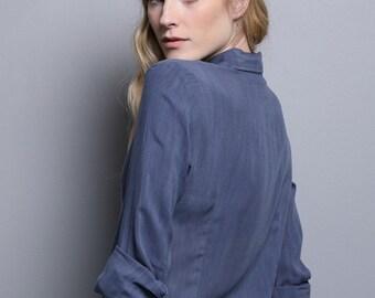 Blue blouse for women, womens blouses, women collar shirt, tailored blue blouse, long sleeve blue blouse, blouse with tie ribbon for women