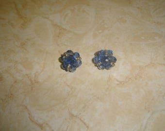 vintage clip on earrings silvertone blue aurora borealis glass bead clusters