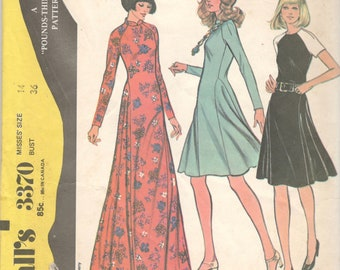 McCalls 3370 1970s Misses Dress Pattern for Knits Flared Skirt 2 Lengths Pounds Thinner Womens Vintage Sewing Pattern Size 14 Bust 36 UNCUT