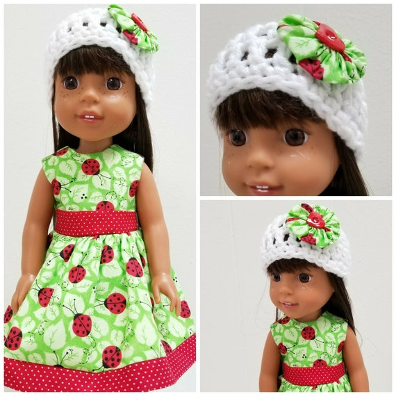 Wellie Wishers Doll Dress and Hat with Lady Bugs
