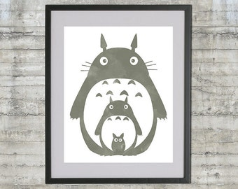 Totoro Art Printable, My Neighbor Totoro With Watercolor Style Grey Totoro Artwork, Instant Download 8x10 .JPG File, Print-it-Yourself