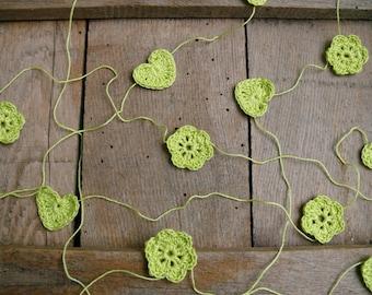 Crochet Garland, Wedding garland, crocheted hearts and flowers, Wall Hanging, Wedding crochet garland, embellishment cotton green applique