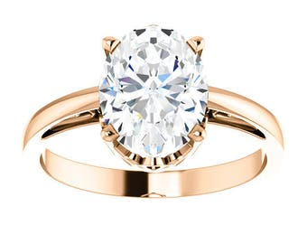 14K Rose Gold 9x7mm (1.5 ct) Cubic Zirconia Oval 4-Prong Ring