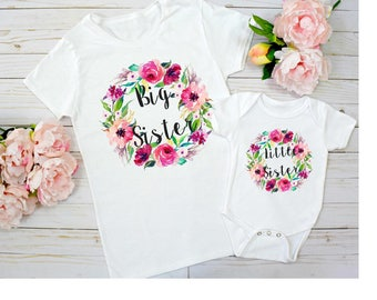 Big Sister Little Sister Set, Big Sister Little Sister Outfit, Big Sisters Announcement Big Sister Shirt, Little Sister Bodysuit
