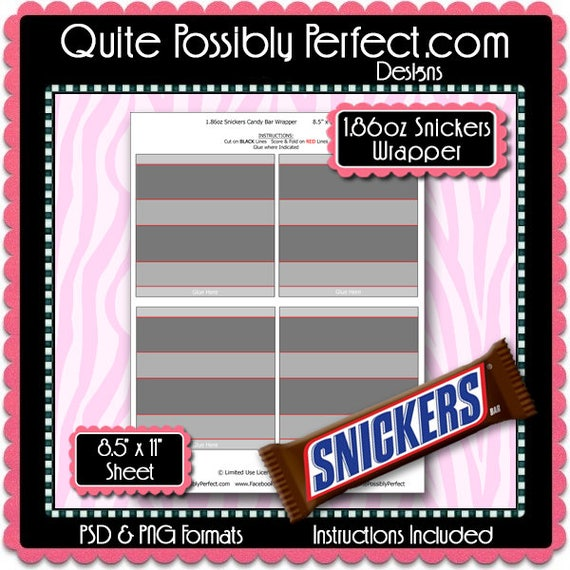 Full Size Candy Bar Wrapper Template Instant Download Psd And