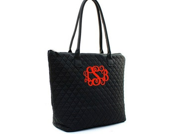 Monogram Quilted Tote Bag -Small Personalized Quilted Tote- Quilted Solid Black Tote - Personlaized Gift Tote Bag