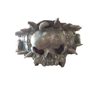 Vintage Halloween Costume Fang Skull Belt Spiked Gargoyle Waist Piece 90's Gothic Grey Skull Movie Prop Creature