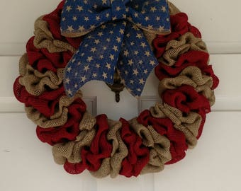 American Flag Wreath, Patriotic Wreath, Rustic Flag Wreath