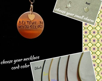 Hand-Stamped Pendant Necklace (Believe in Yourself)