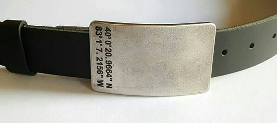 """Personalized Belt & Buckle SET Customized Accessories Hypoallergenic Coordinate Belt Buckle w/ Oiled Buffalo 1-1/2"""" Leather Belt for Jeans"""