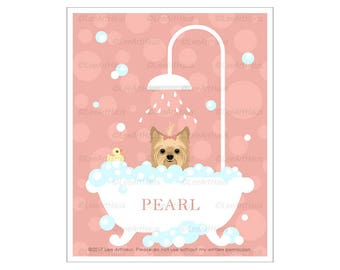 47N Pink Art - Personalized Yorkshire Terrier in Bubble Bath Wall Art - Yorkie Gifts - Yorkie Art - Yorkie Dog Portrait - Dog Baby Shower