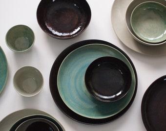Stoneware Plates Set Handmade Pottery Stoneware Ceramic Plates Ceramic Bowls. Stoneware Dinnerware & Ceramic Dinnerware Set Handmade Ceramics Rustic Dinnerware