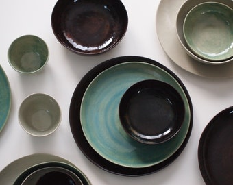 Stoneware Plates Set Handmade Pottery Stoneware Ceramic Plates Ceramic Bowls. Stoneware Dinnerware & Dinnerware Set for 2 Kitchen Dinner Set Modern Plates