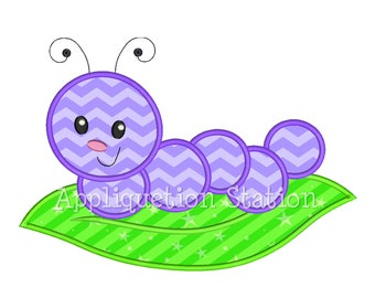 Cute Bugzee Caterpillar 1 color Applique Machine Embroidery Design boy/girl baby insect bug worm  INSTANT DOWNLOAD
