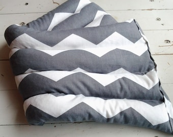 Microwave Therapy Rice Bag in Modern Gray and White Chevron Large Rice Bag in Gender Neutral Chevron