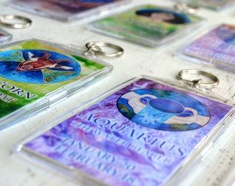 Zodiac Key Chain - Astrology Keychain - Zodiac Gifts - Zodiac Key Fob - Acrylic Zodiac Key Chain - Zodiac Gifts for Cancer - Natal Chart Art