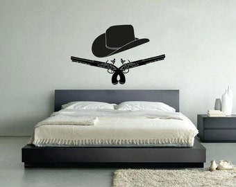 New Cowboy Guns and Hat Wall Decal Black Wall Stickers Large 90cm X 58cm