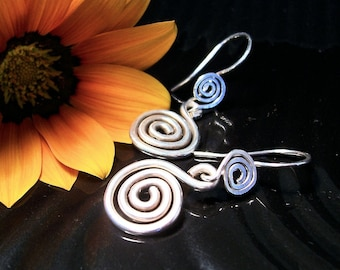 "Argentium Sterling Silver Spiral Earrings, ""Celestial"",  Made to Order"
