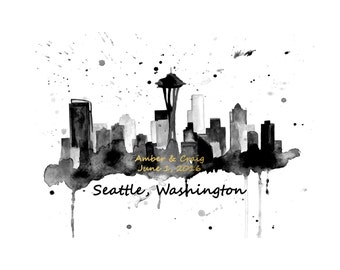 Personalized Wedding Gift, Seattle Skyline Print, Personalized Seattle Skyline, Anniversary Gift,  Seattle Skyline Art, Custom Skyline Print