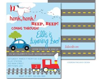 Transportation Party Invitation | Printable | Transportation Birthday Invitation | Car Train Birthday | Plane Party Invite  | LuluCole