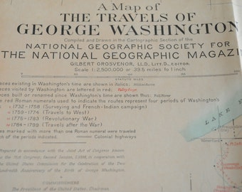 A Map Of The Travels of George Washington - Fold out map