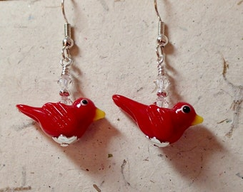 Red Glass Bird Earrings with Red Winglets and Clear Accents Silver
