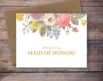 Printable Will You Be My Maid of Honor Card - Vintage Flower, Instant Download Greeting Card - Wedding Card
