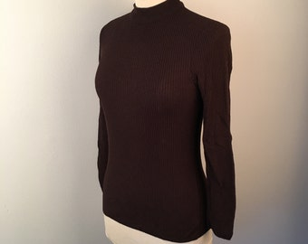 Dark Brown Tight Ribbed Mock Turtleneck Ship n Shore Long Sleeve Top 70s Vintage Knit Pullover Small to Medium Stretchy Zip Back